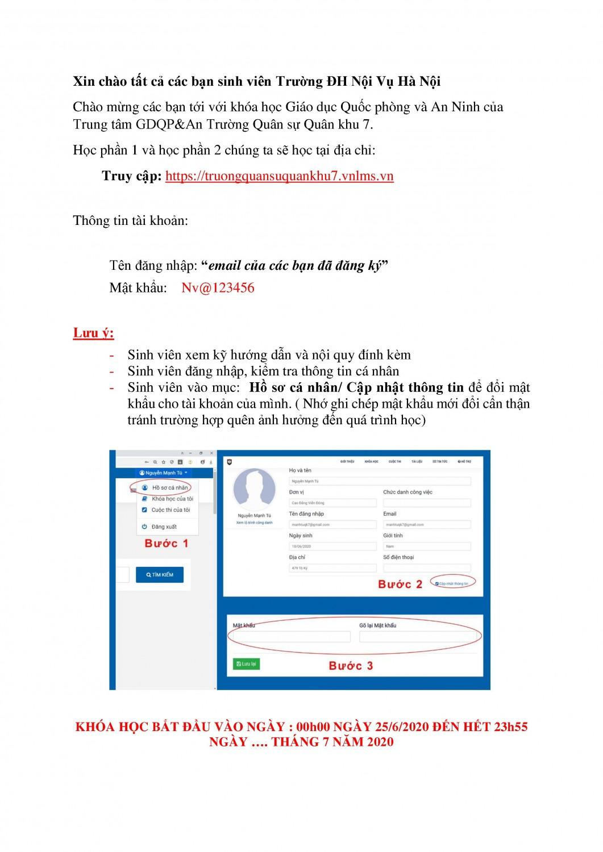 Hướng dẫn đăng nhập tài khoản để học Giáo dục an ninh quốc phòng trực tuyến